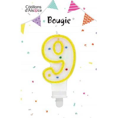 BOUGIE ANNIVERSAIRE CHIFFRE 9 - COTILLONS