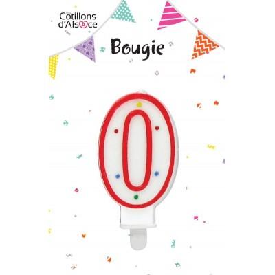 BOUGIE ANNIVERSAIRE CHIFFRE 0 - COTILLONS