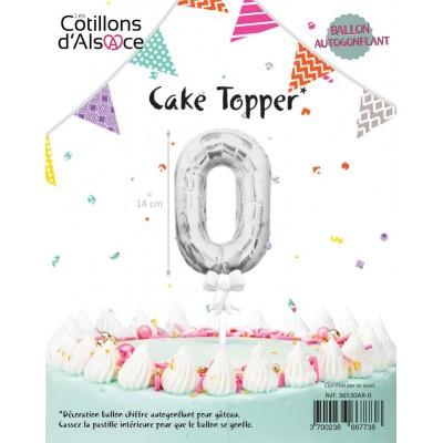 BALLON TOPPER ARGENT 14 CM - CHIFFRE 0 - COTILLONS