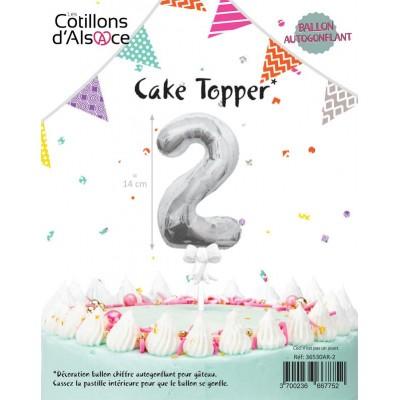 BALLON TOPPER ARGENT 14 CM - CHIFFRE 2 - COTILLONS
