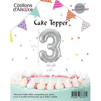 BALLON TOPPER ARGENT 14 CM - CHIFFRE 3 - COTILLONS