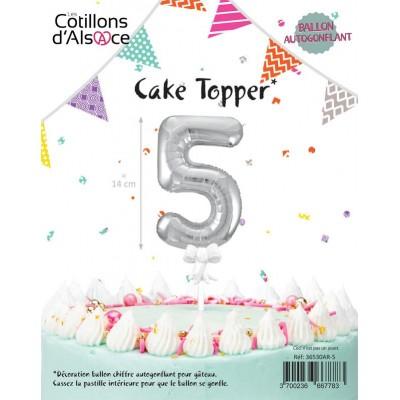 BALLON TOPPER ARGENT 14 CM - CHIFFRE 5 - COTILLONS