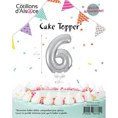 BALLON TOPPER ARGENT 14 CM - CHIFFRE 6 - COTILLONS