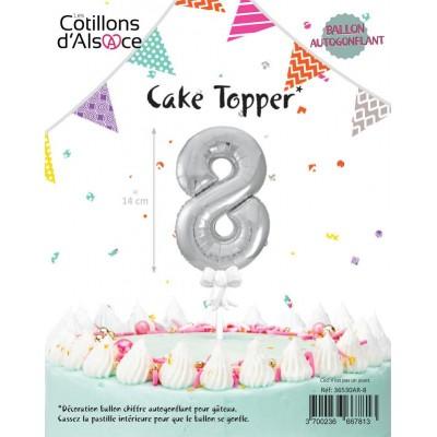 BALLON TOPPER ARGENT 14 CM - CHIFFRE 8 - COTILLONS