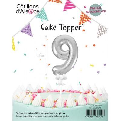 BALLON TOPPER ARGENT 14 CM - CHIFFRE 9 - COTILLONS