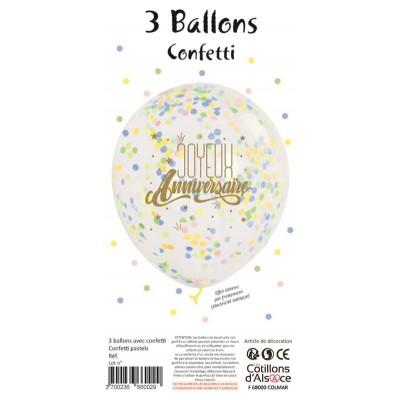 SACHET DE 3 BALLONS JOYEUX ANNIVERSAIRE CONF PASTEL -...