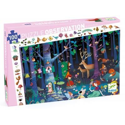 PUZZLE OBSERVATION LA FORET ENCHANTEE - 100 PCS- DJECO