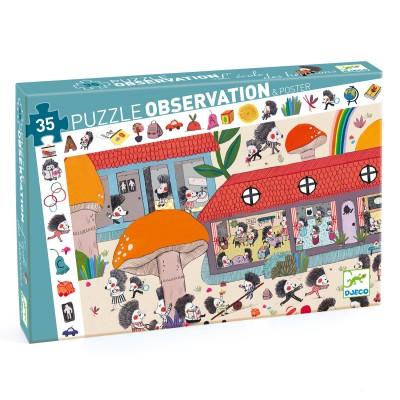 PUZZLE OBSERVATION -L'ECOLE DES HERISSONS - 35 PCS- DJECO