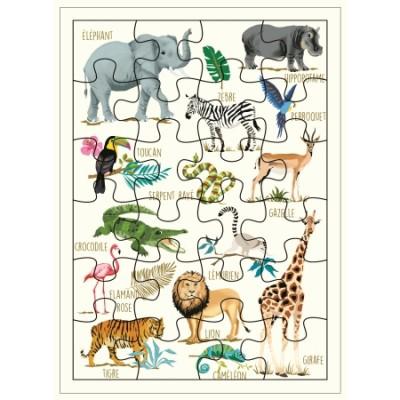 CARTE PUZZLE XL ANIMAUX DE LA JUNGLE- CARTES D'ART