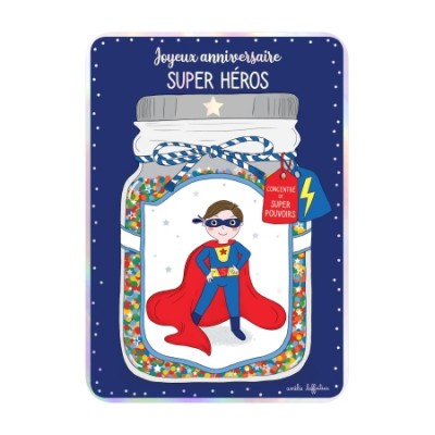 CARTE POSTALE COIN ROND ANNIVERSAIRE SUPER HERO- CARTES...