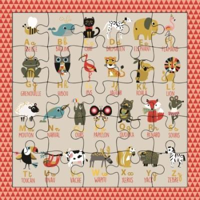 CARTE PUZZLE ALPHABET ANIMAUX - CARTES D'ART