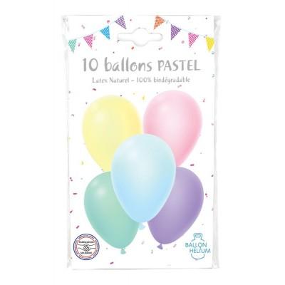 SACHET 10 BALLONS PASTEL 30 CM - COTILLONS D'ALSACE