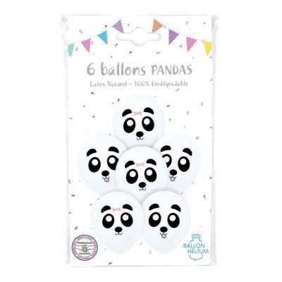 SACHET 6 BALLONS IMPRIME PANDA