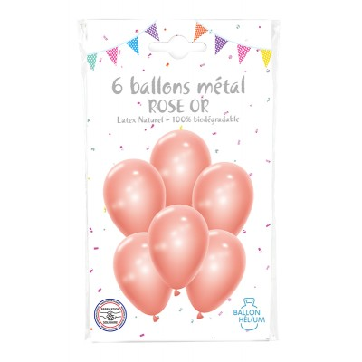 SACHET 6 BALLONS METALISE ROSE GOLD 30 CM - COTILLONS...