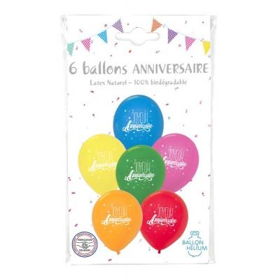 """SACHET 6 BALLONS JOYEUX ANNIVERSAIRE - COTILLON DALSACE"""""""