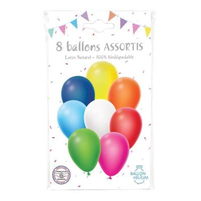 SACHET 8 BALLONS COULEURS ASSORTIES - COTILLONS D'ALSACE