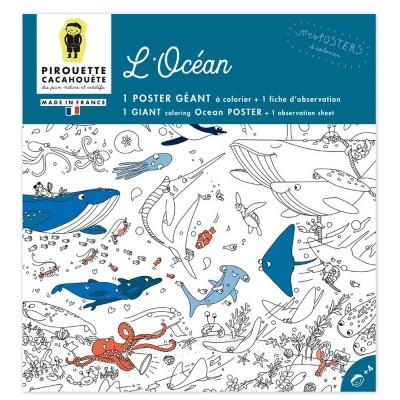 POSTER A COLORIER - OCEAN- PIROUETTE CACAHOUETE