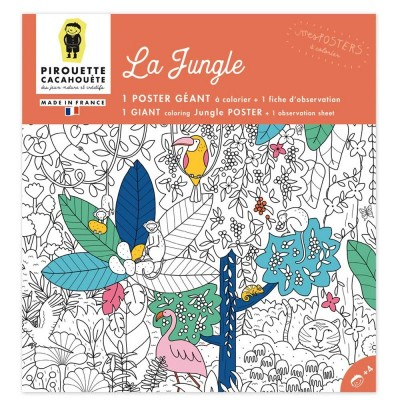 POSTER A COLORIER - JUNGLE- PIROUETTE CACAHOUETE
