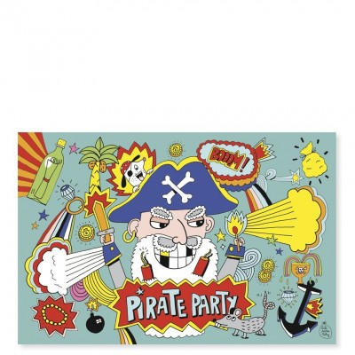 CARTES D'INVITATIONS PIRATE (8 CARTES) - PIROUETTE...
