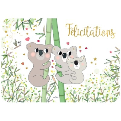 CARTE POSTALE COIN ROND FELICITATIONS - CARTES D'ART