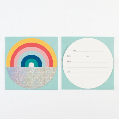 LOTS DE 8 INVITATIONS ARC EN CIEL