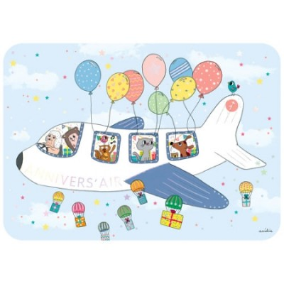 CARTE POSTALE COIN ROND AVION ANNIVERSAIRE - CARTES D'ART