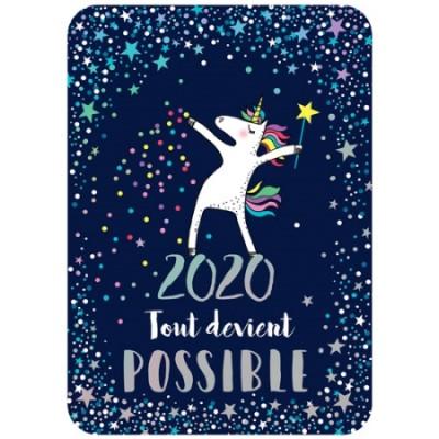 CARTE POSTALE COIN ROND 2020 LICORNE - CARTES D'ART