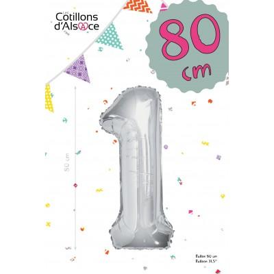 BALLON MYLAR ARGENT 80 CM - CHIFFRE 1 - COTILLONS D'ALSACE