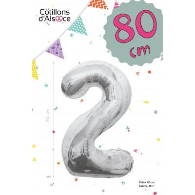 BALLON MYLAR ARGENT 80 CM - CHIFFRE 2 - COTILLONS D'ALSACE