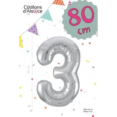 BALLON MYLAR ARGENT 80 CM - CHIFFRE 3 - COTILLONS D'ALSACE