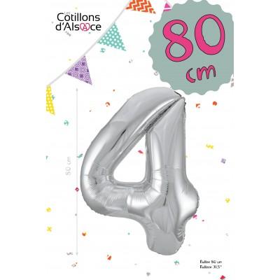 BALLON MYLAR ARGENT 80 CM - CHIFFRE 4 - COTILLONS D'ALSACE