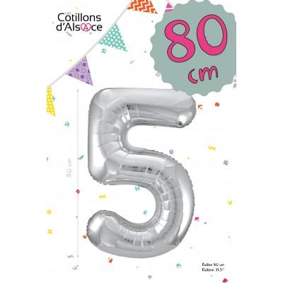 BALLON MYLAR ARGENT 80 CM - CHIFFRE 5 - COTILLONS D'ALSACE