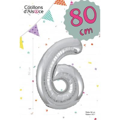 BALLON MYLAR ARGENT 80 CM - CHIFFRE 6 - COTILLONS D'ALSACE