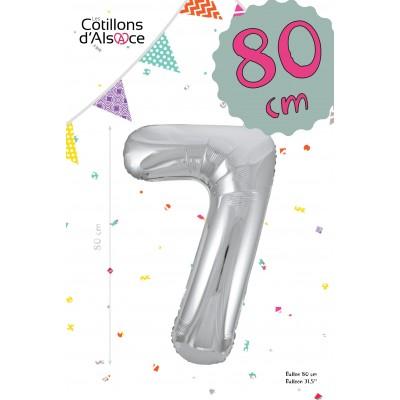 BALLON MYLAR ARGENT 80 CM - CHIFFRE 7 - COTILLONS D'ALSACE