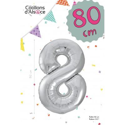 BALLON MYLAR ARGENT 80 CM - CHIFFRE 8 - COTILLON D'ALSACE