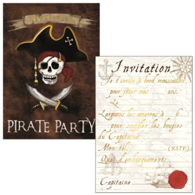 8 CARTES  INVITATIONS PIRATES - CARTES D'ART