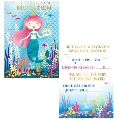 8 CARTES D'INVITATION PRINCESSE DES SIRENES - CARTES D'ART