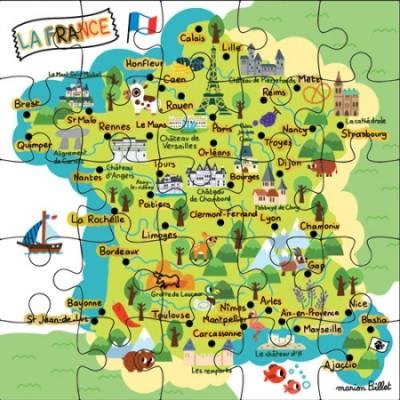 CARTE PUZZLE LA FRANCE - CARTE D'ART