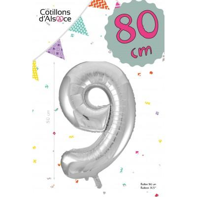 BALLON MYLAR ARGENT 80 CM - CHIFFRE 9 - COTILLONS D'ALSACE