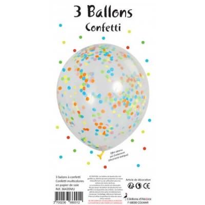 SACHET DE 3 BALLONS CONFETTI MULTICOLRE - COTILLONS D'ALSACE