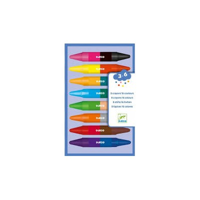 8 CRAYONS DOUBLES COTES- DJECO