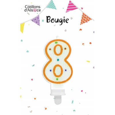 BOUGIE ANNIVERSAIRE CHIFFRE 8 - COTILLONS