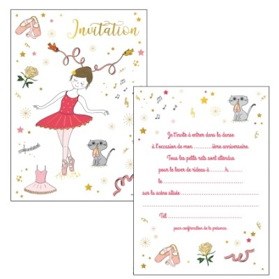 CARTES INVITATIONS BALLERINES - CARTES D'ART