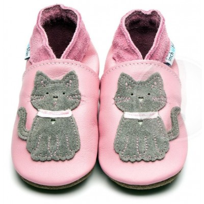CHAUSSON CUIR 0-6 MOIS CHAT - INCHBLUE