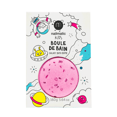 BOULE DE BAIN ROSE - POINTS VIOLET - NAILMATIC