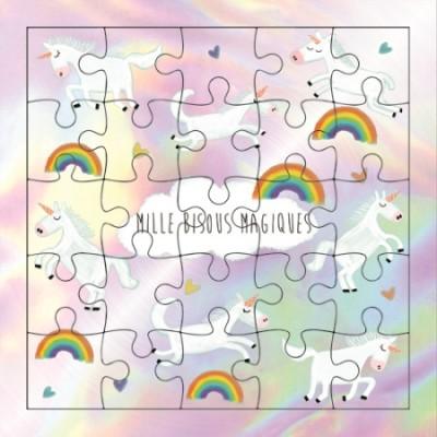 CARTE PUZZLE MILLE BISOUS MAGIQUES DE LICORNE- CARTES D'ART