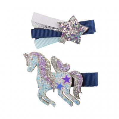BARRETTE NAVY UNICORN STAR - GREAT PRETENDERS