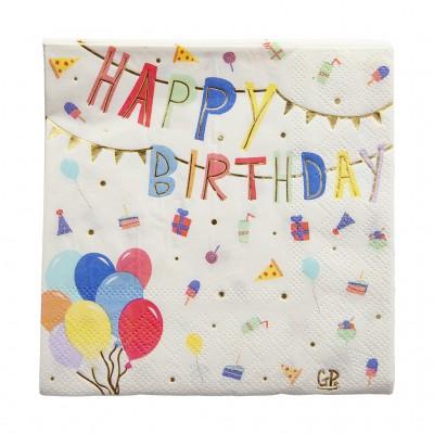 SERVIETTES HAPPY BIRTHDAY  PAR  20 - GREAT PRETENDERS